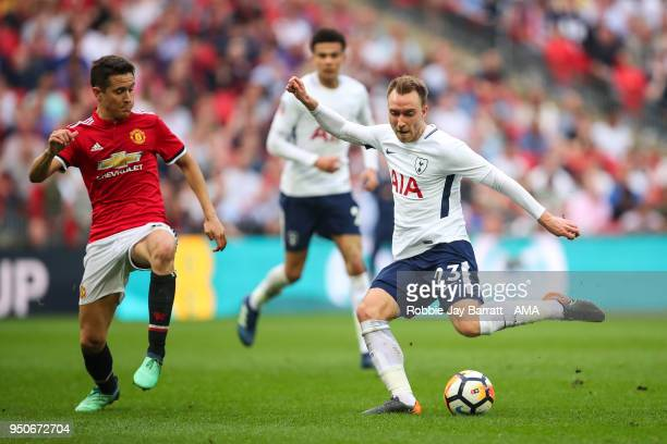 Ander Herrera of Manchester United and Christian Eriksen of Tottenham Hotspur during The Emirates FA Cup Semi Final match between Manchester United...
