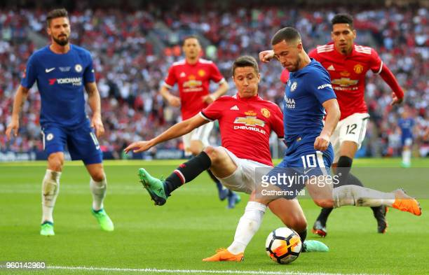Ander Herrera of Manchester United and Eden Hazard of Chelsea battle for possession during The Emirates FA Cup Final between Chelsea and Manchester...