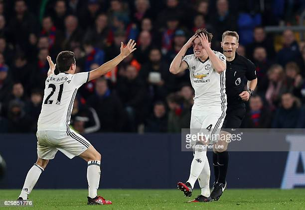 Ander Herrera of Manchester United and Phil Jones of Manchester United react during the Premier League match between Crystal Palace and Manchester...
