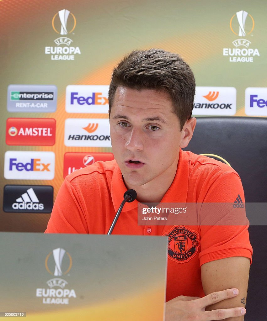 Ander Herrera of Manchester United answers questions from the media during a press conference ahead of the UEFA Europa League Group A match between Feyenoord and Manchester United at De Kuip on September 14, 2016 in Rotterdam, Netherlands.