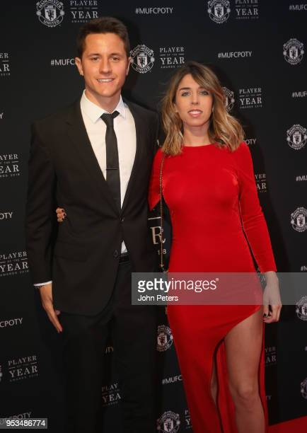 Ander Herrera of Manchester United arrives with his partner at Old Trafford ahead of the club's annual Player of the Year awards at Old Trafford on...