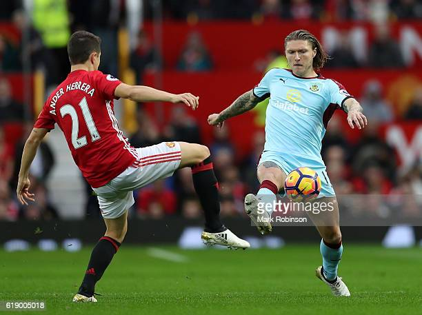 Ander Herrera of Manchester United attempts to tackle Jeff Hendrick of Burnley during the Premier League match between Manchester United and Burnley...