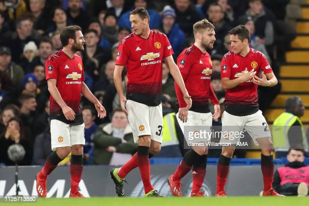 Ander Herrera of Manchester United celebrates after scoring a goal to make it 1-0 during the FA Cup Fifth Round match between Chelsea and Manchester...