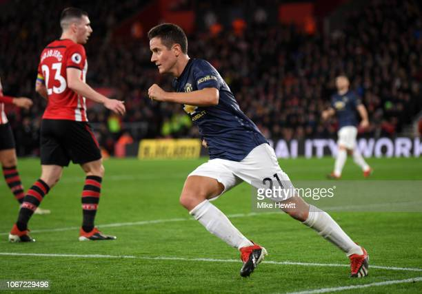 Ander Herrera of Manchester United celebrates after scoring his team's second goal during the Premier League match between Southampton FC and...