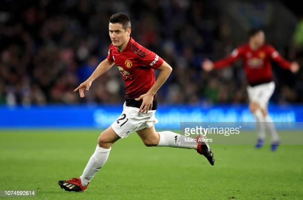 Ander Herrera of Manchester United celebrates after scoring his team's second goal during the Premier League match between Cardiff City and...