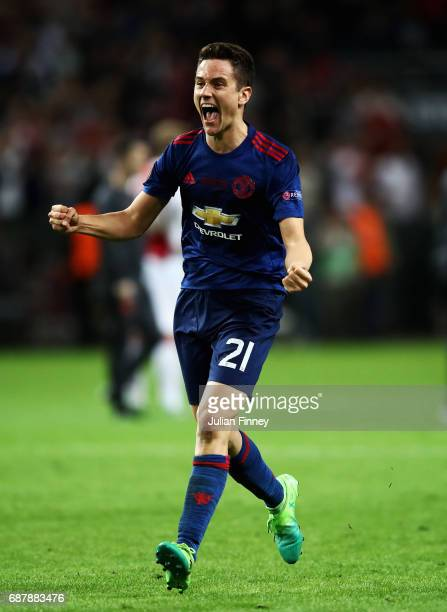 Ander Herrera of Manchester United celebrates after the UEFA Europa League Final between Ajax and Manchester United at Friends Arena on May 24, 2017...
