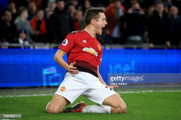 Ander Herrera of Manchester United celebrates during the Premier League match between Cardiff City and Manchester United at Cardiff City Stadium on...