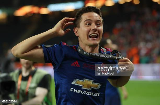 Ander Herrera of Manchester United celebrates during the UEFA Europa League Final match between Ajax and Manchester United at Friends Arena on May 24...
