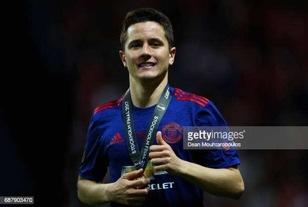 Ander Herrera of Manchester United celebrates following victory in the UEFA Europa League Final between Ajax and Manchester United at Friends Arena...