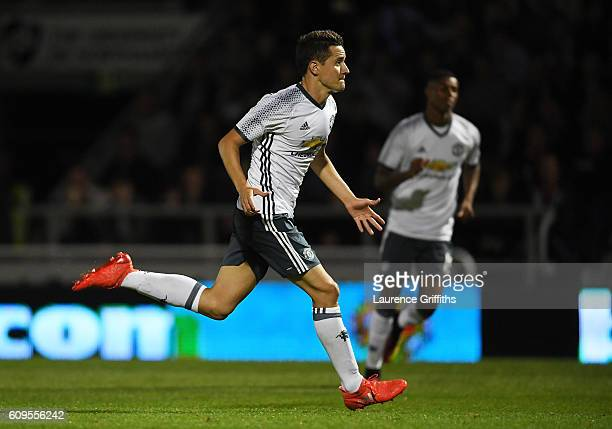 Ander Herrera of Manchester United celebrates scoring his sides second goal during the EFL Cup Third Round match between Northampton Town and...