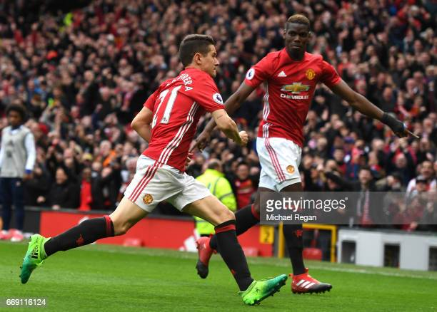 Ander Herrera of Manchester United celebrates scoring his sides second goal with Paul Pogba of Manchester United during the Premier League match...