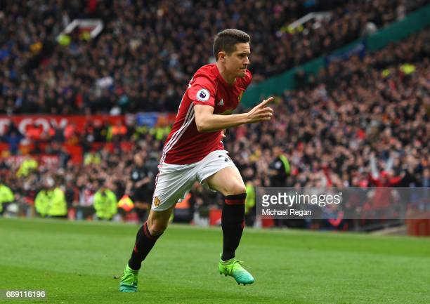 Ander Herrera of Manchester United celebrates scoring his sides second goal during the Premier League match between Manchester United and Chelsea at...