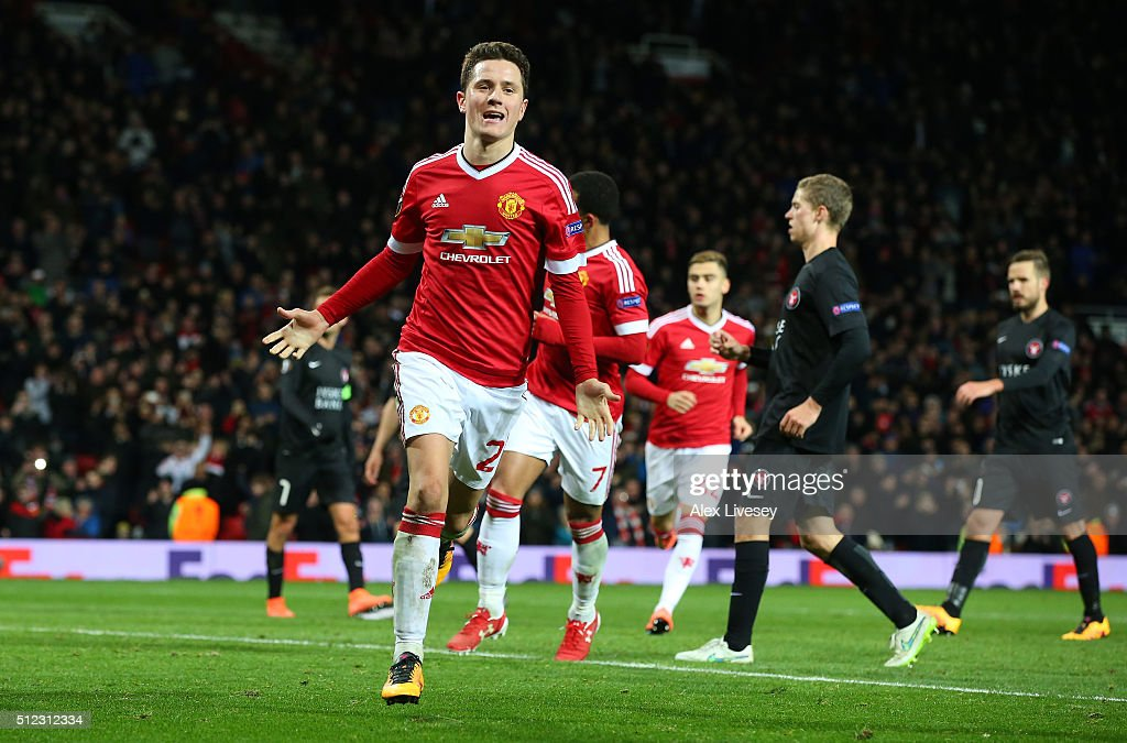 Ander Herrera of Manchester United celebrates scoring his team's fourth goal during the UEFA Europa League Round of 32 second leg match between Manchester United and FC Midtjylland at Old Trafford on February 25, 2016 in Manchester, United Kingdom.