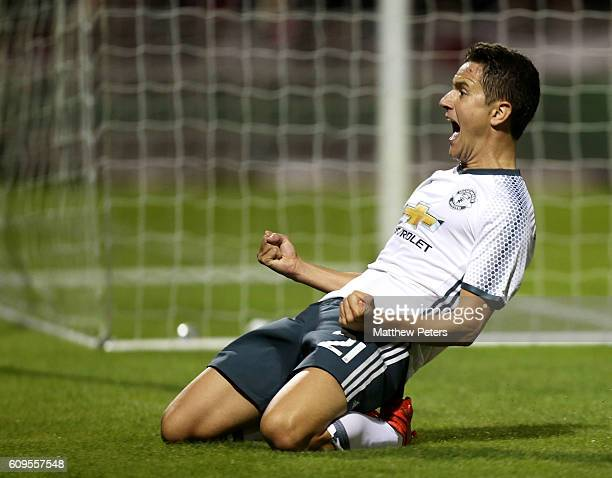 Ander Herrera of Manchester United celebrates scoring his team's second goal during the EFL Cup Third Round match between Northampton Town and...
