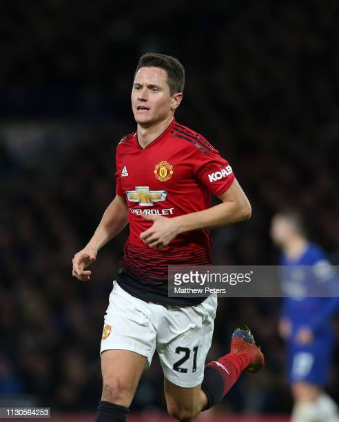 Ander Herrera of Manchester United celebrates scoring their first goal during the FA Cup Fifth Round match between Chelsea and Manchester United at...