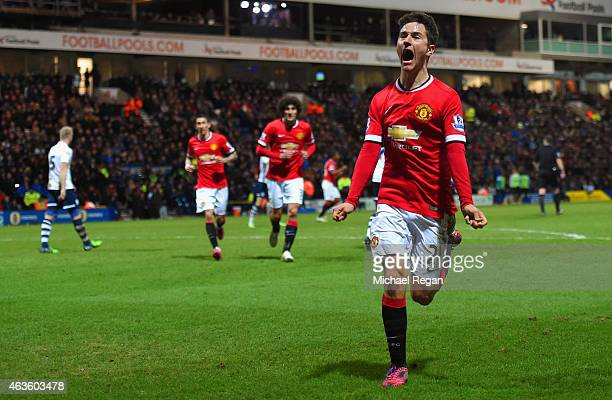 Ander Herrera of Manchester United celebrates scoring their first goal during the FA Cup Fifth round match between Preston North End and Manchester...