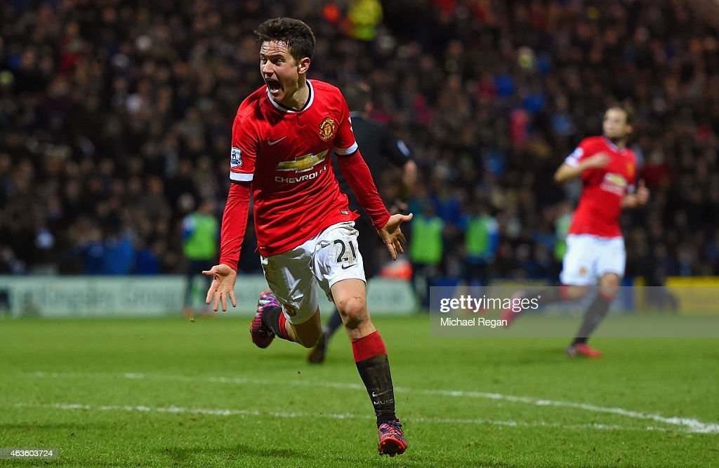 Ander Herrera of Manchester United celebrates scoring their first goal during the FA Cup Fifth round match between Preston North End and Manchester United at Deepdale on February 16, 2015 in Preston, England