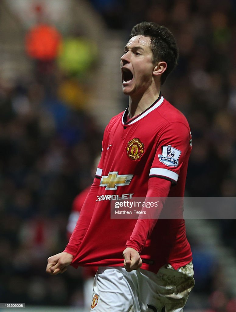 Ander Herrera of Manchester United celebrates scoring their first goal during the FA Cup Fifth Round match between Preston North End and Manchester United at Deepdale on February 16, 2015 in Preston, England.