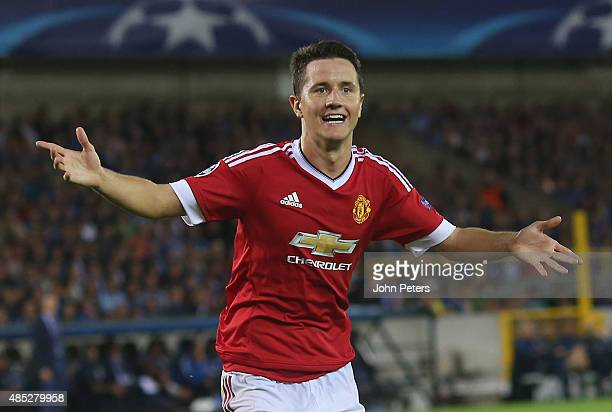 Ander Herrera of Manchester United celebrates scoring their fourth goal during the UEFA Champions League playoff second leg match between Club Brugge...