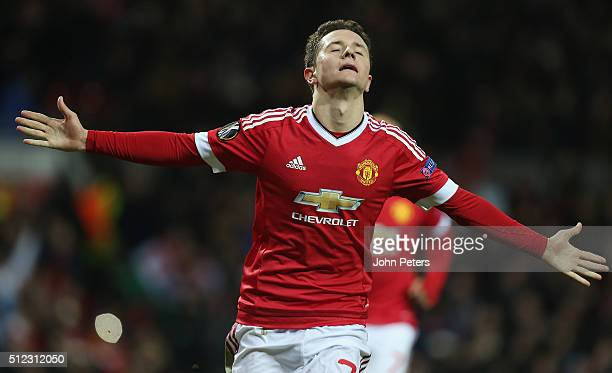 Ander Herrera of Manchester United celebrates scoring their fourth goal during the UEFA Europa League match between Manchester United and FC...