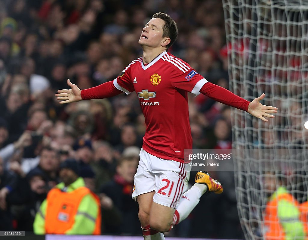 Ander Herrera of Manchester United celebrates scoring their fourth goal during the UEFA Europa League match between Manchester United and FC Midtjylland at Old Trafford on February 25, 2016 in Manchester, United Kingdom.