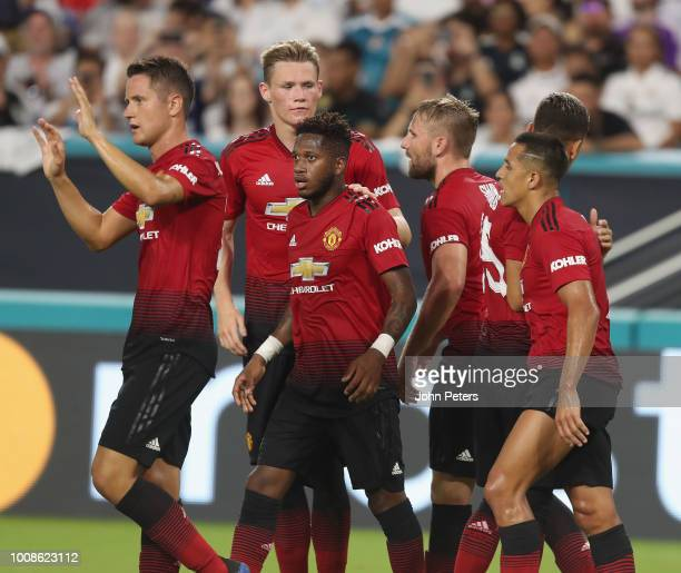 Ander Herrera of Manchester United celebrates scoring their second goal during the preseason friendly match between Manchester United and Real Madrid...