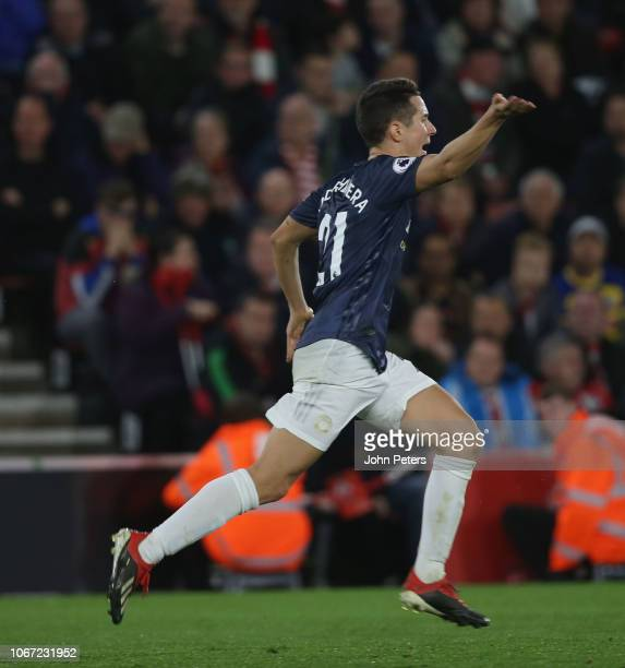Ander Herrera of Manchester United celebrates scoring their second goal during the Premier League match between Southampton FC and Manchester United...