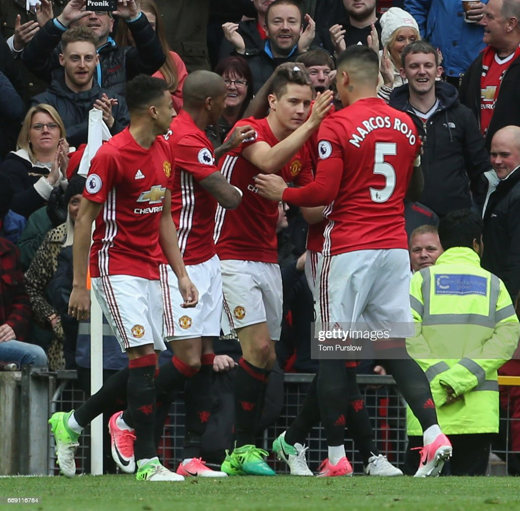 Ander Herrera of Manchester United celebrates scoring their second goal during the Premier League match between Manchester United and Chelsea at Old Trafford on April 16, 2017 in Manchester, England.