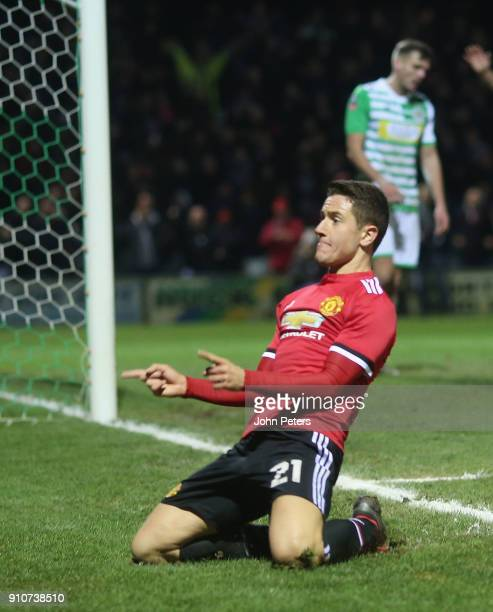Ander Herrera of Manchester United celebrates scoring their second goal during the Emirates FA Cup Fourth Round match between Yeovil Town and...