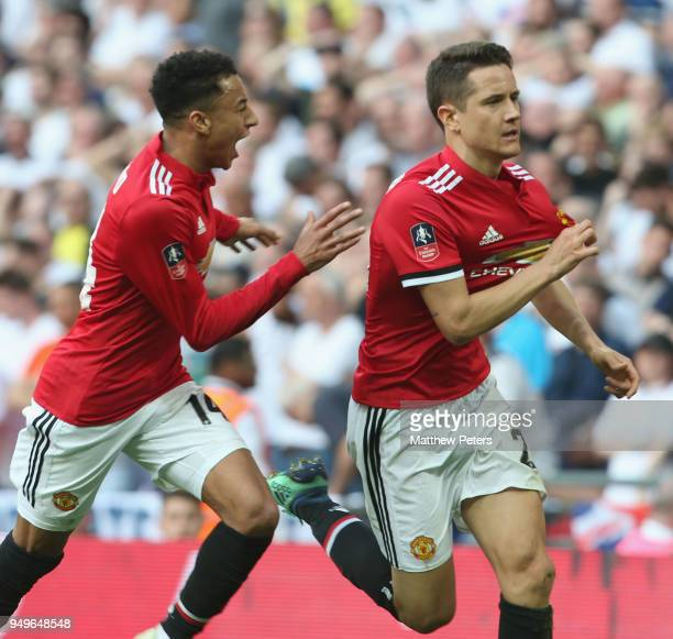 Ander Herrera of Manchester United celebrates scoring their second goal during the Emirates FA Cup semi-final match between Manchester United and...