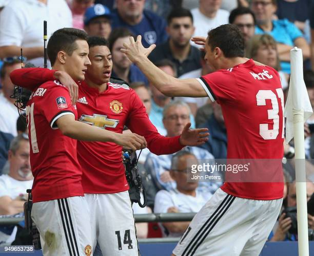 Ander Herrera of Manchester United celebrates scoring their second goal during the Emirates FA Cup semifinal match between Manchester United and...