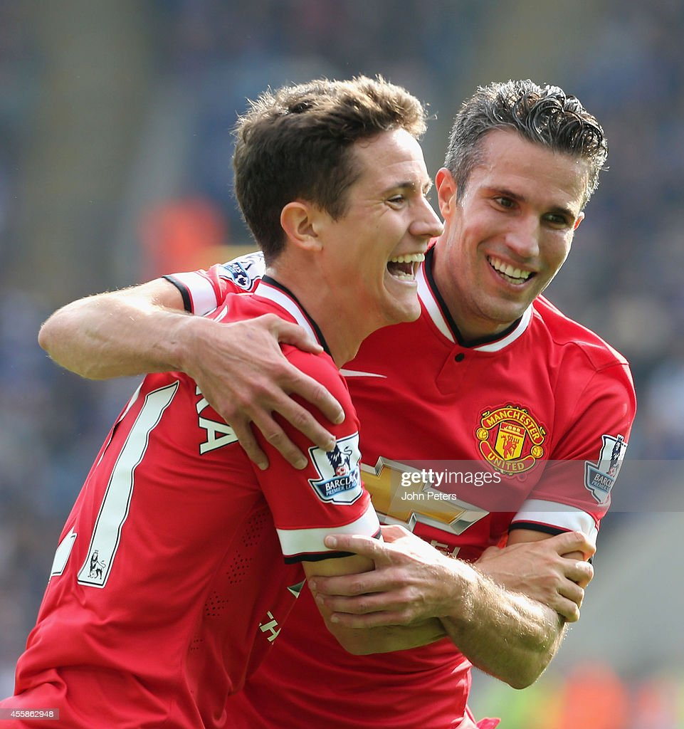 Ander Herrera of Manchester United celebrates scoring their third goal during the Barclays Premier League match between Leicester City and Manchester United at The King Power Stadium on September 21, 2014 in Leicester, England.