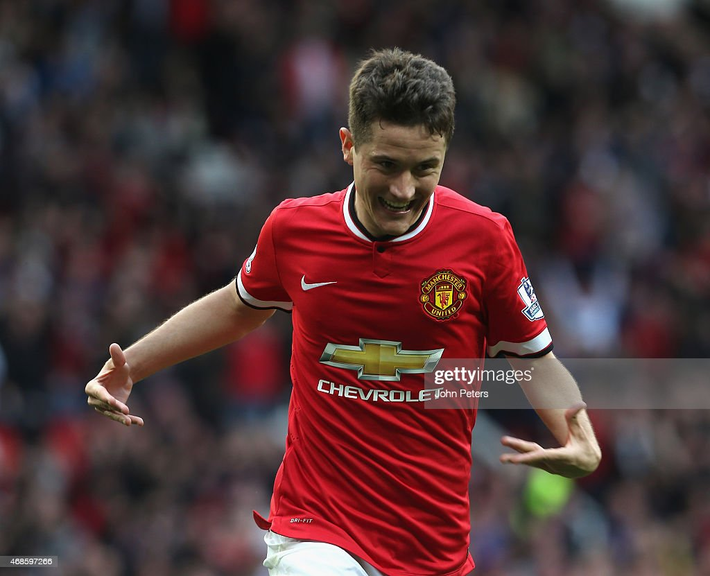 Ander Herrera of Manchester United celebrates scoring their third goal during the Barclays Premier League match between Manchester United and Aston Villa at Old Trafford on April 4, 2015 in Manchester, England.