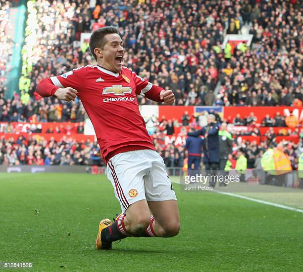 Ander Herrera of Manchester United celebrates scoring their third goal during the Barclays Premier League match between Manchester United and Arsenal...
