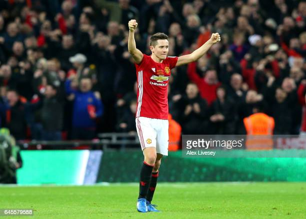 Ander Herrera of Manchester United celebrates victory after the EFL Cup Final match between Manchester United and Southampton at Wembley Stadium on...