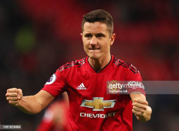 Ander Herrera of Manchester United celebrates victory after the Premier League match between Tottenham Hotspur and Manchester United at Wembley...