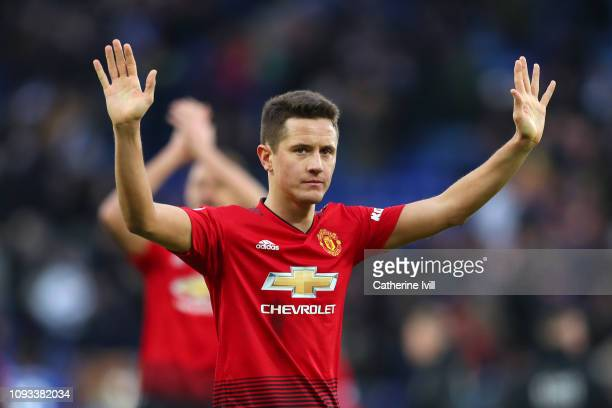 Ander Herrera of Manchester United celebrates victory following the Premier League match between Leicester City and Manchester United at The King...