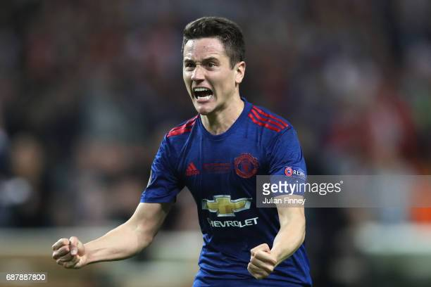 Ander Herrera of Manchester United celebrates victory following the UEFA Europa League Final between Ajax and Manchester United at Friends Arena on...