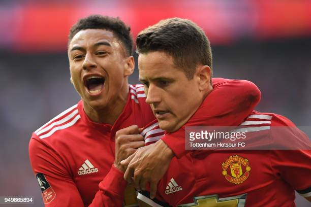 Ander Herrera of Manchester United celebrates with team mate Jesse Lingard after scoring the winning goal during The Emirates FA Cup Semi Final...