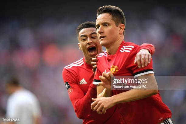 Ander Herrera of Manchester United celebrates with teammate Jesse Lingard after scoring his sides second goal during The Emirates FA Cup Semi Final...