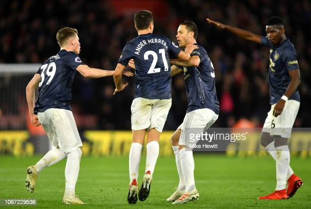 Ander Herrera of Manchester United celebrates with teammates after scoring his team's second goal during the Premier League match between Southampton...