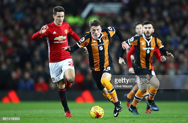 Ander Herrera of Manchester United chases down Josh Tymon of Hull City the EFL Cup SemiFinal First Leg match between Manchester United and Hull City...
