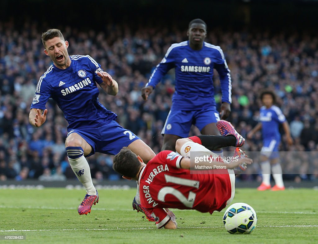 Ander Herrera of Manchester United clashes with Gary Cahill of Chelsea but no penalty is given during the Barclays Premier League match between Chelsea and Manchester United at Stamford Bridge on April 18, 2015 in London, England.