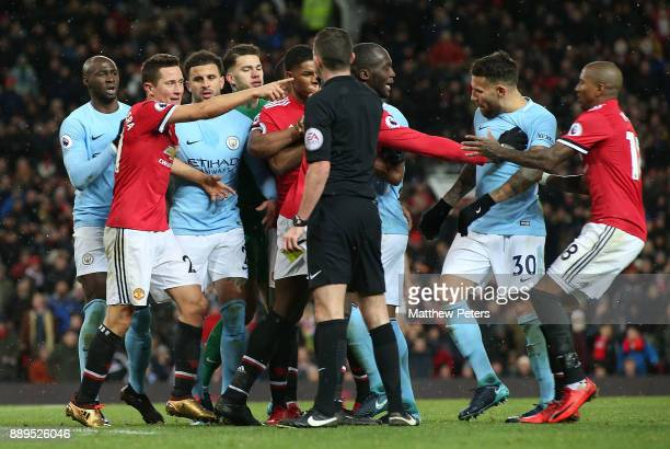 Ander Herrera of Manchester United complains to Referee Michael Oliver about Nicolas Otamendi of Manchester City during the Premier League match...