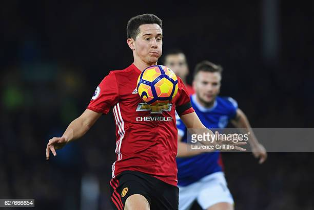 Ander Herrera of Manchester United controls the ball during the Premier League match between Everton and Manchester United at Goodison Park on...