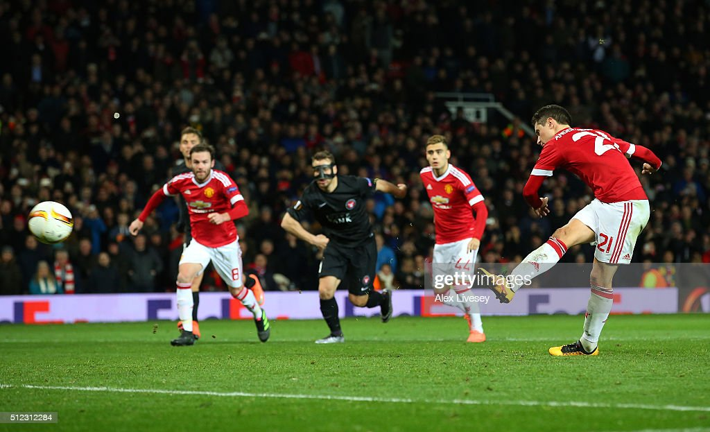 Ander Herrera of Manchester United converts the penalty to score his team's fourth goal during the UEFA Europa League Round of 32 second leg match between Manchester United and FC Midtjylland at Old Trafford on February 25, 2016 in Manchester, United Kingdom.