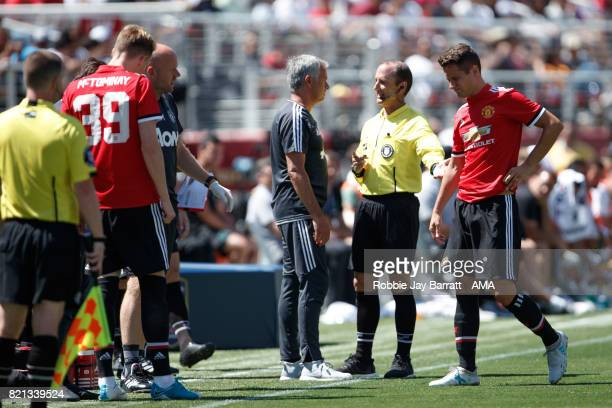 Ander Herrera of Manchester United goes off injured during the International Champions Cup 2017 match between Real Madrid v Manchester United at...