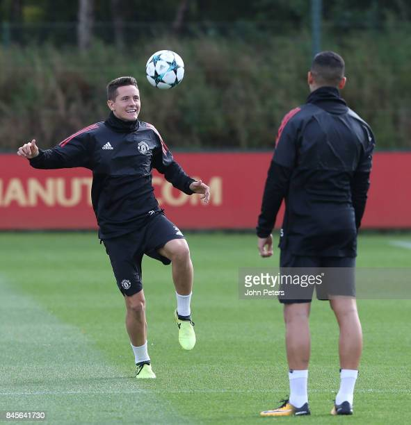 Ander Herrera of Manchester United in action during a first team training session at Aon Training Complex on September 11 2017 in Manchester England