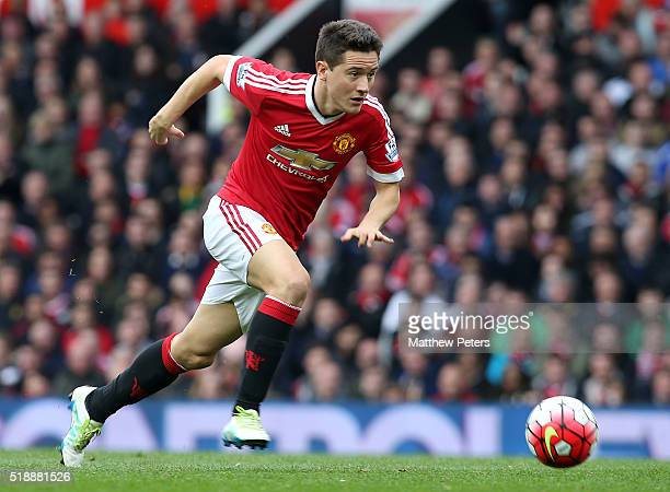Ander Herrera of Manchester United in action during the Barclays Premier League match between Manchester United and Everton at Old Trafford on April...