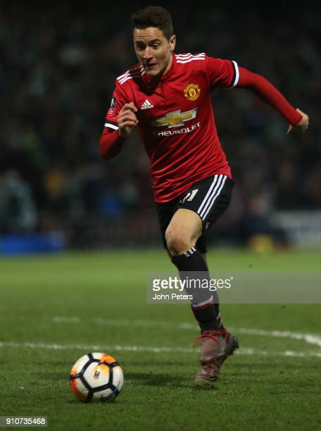 Ander Herrera of Manchester United in action during the Emirates FA Cup Fourth Round match between Yeovil Town and Manchester United at Huish Park on...